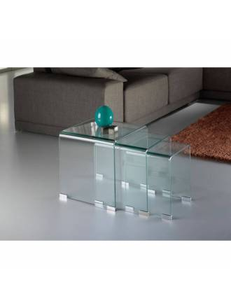 SCHULLER nest tables Glass clear glass