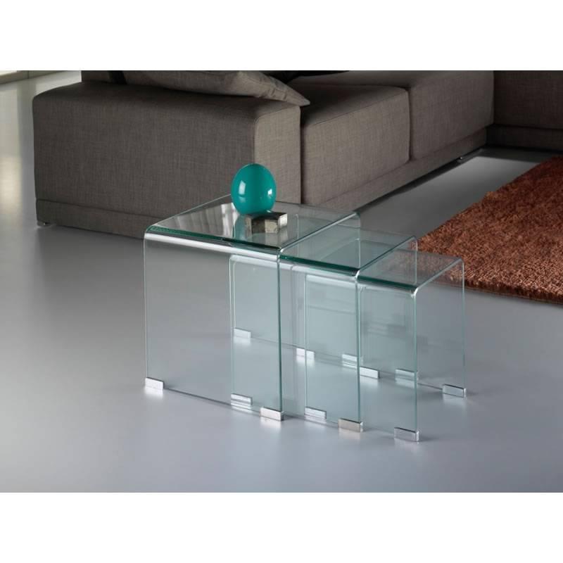 Mesas nido glass cristal templado schuller - Mesas nido cristal ...