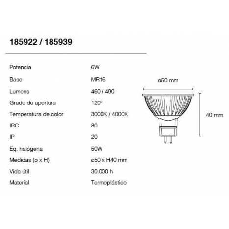 MASLIGHTING MR16 LED Bulb 6w 12v 120º