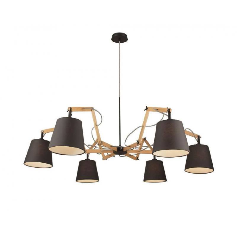AROMAS Teo ceiling lamp 6L wood and fabric