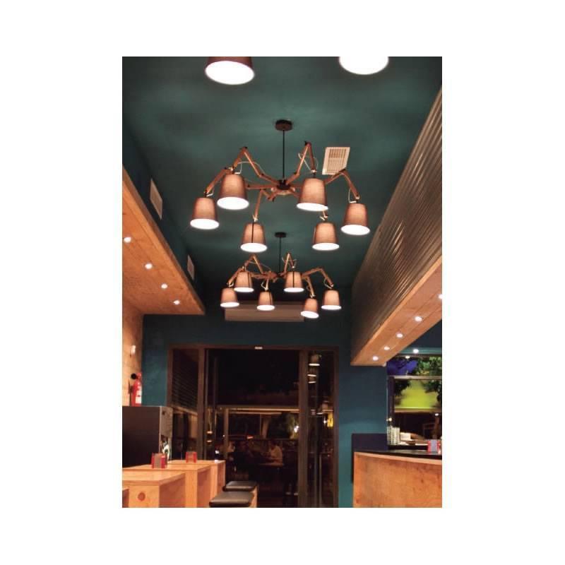 L mpara de techo teo 6 luces madera tela aromas - Lampara tela techo ...