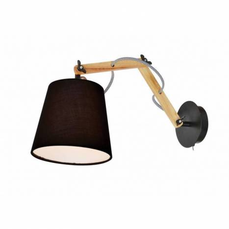 AROMAS Teo wall lamp 1L wood and fabric