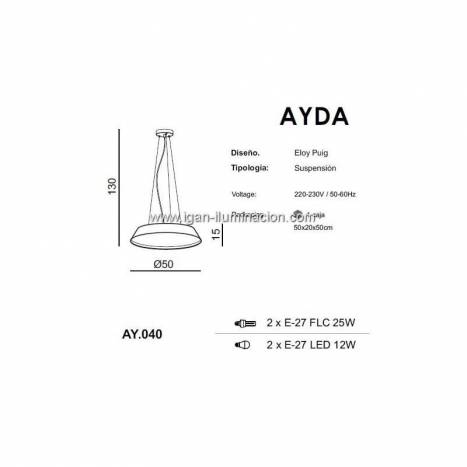EL TORRENT Ayda pendant lamp 2L fabric