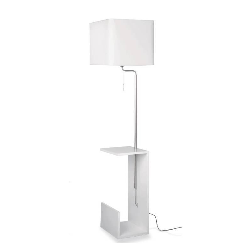 Lámpara de pie Fusta blanco revistero - Massmi