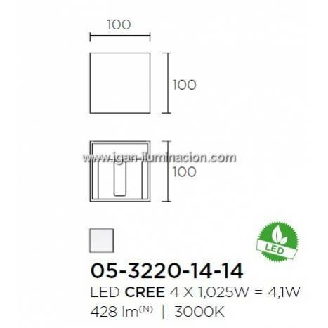 Aplique de pared Kub LED 4w gris de Leds C4