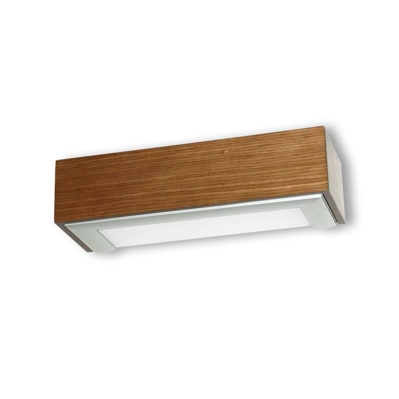Aplique de pared box 25cm e27 madera roble ole for Aplique pared madera