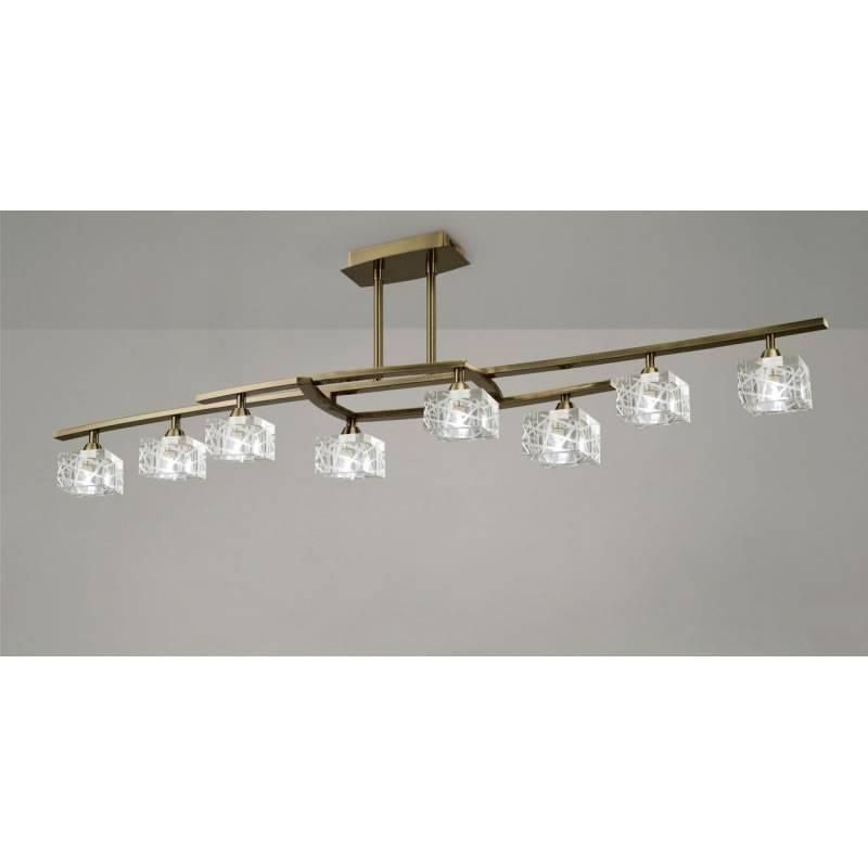 L mpara de techo zen 8l g9 led cuero cristal mantra - Lamparas de cristal para techo ...