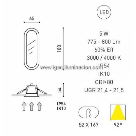 Downlight Olympia LED 5w IP54 blanco - Arkoslight