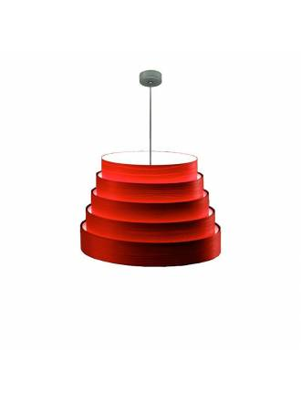ICONO Tower 50cm red veneer pendant lamp