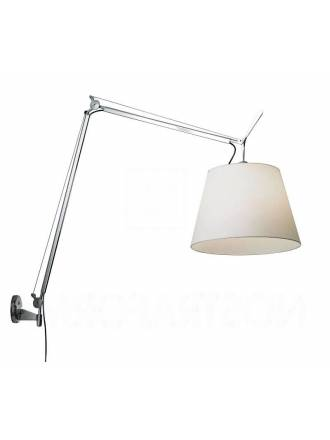 Terra long wall lamp chrome and fabric