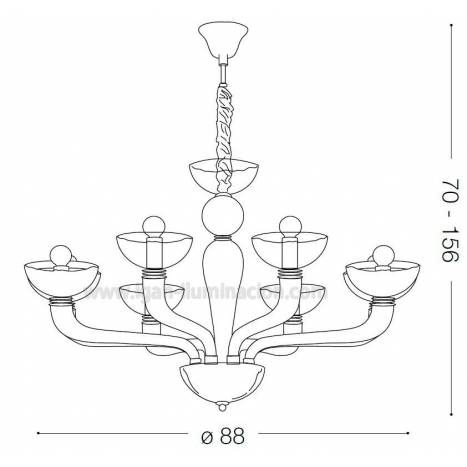 Lámpara colgante Casanova 8L humo - Ideal Lux