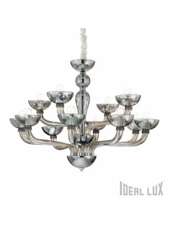 IDEAL LUX Casanova 12L smoked glass pendant lamp