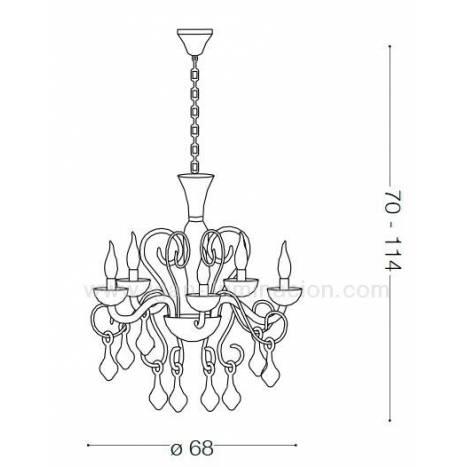 Lámpara colgante Lilly 5L cristal blanco - Ideal Lux