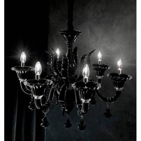 IDEAL LUX Radetzky 6L black glass pendant lamp