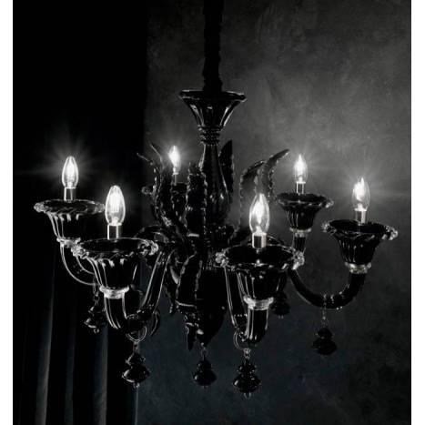Lámpara colgante Radetzky 6L cristal negro - Ideal Lux