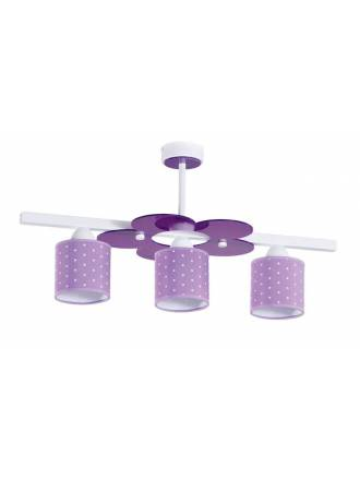 Lámpara de techo infantil Topitos 3L lila - Anperbar