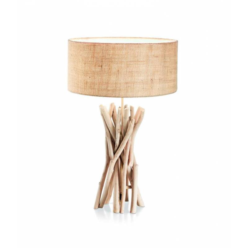 L mpara de mesa driftwood 1l e27 madera natural ideal lux for Lamparas de diseno de mesa