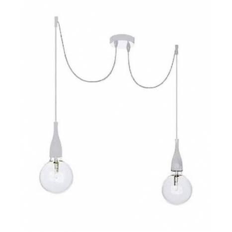 Lámpara colgante Minimal 2L E27 blanco - Ideal Lux