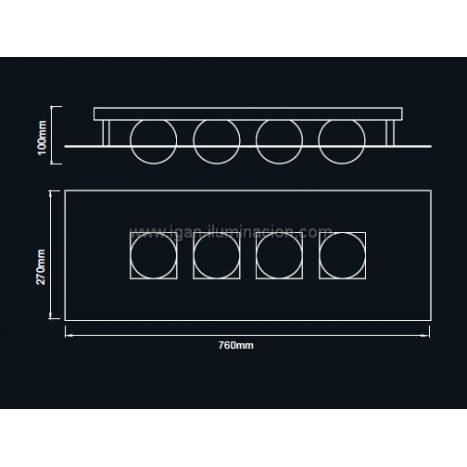 Mantra Cocoon linear ceiling lamp 4L