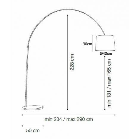 Lámpara de pie Dorsale 1L arco blanco - Ideal Lux