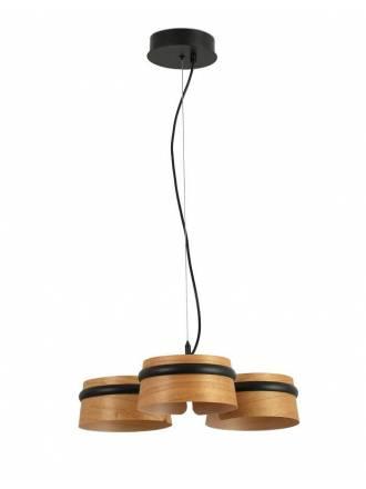 FARO Loop LED 3x6w pendant lamp wood