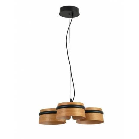 Lámpara colgante Loop LED 3x6w madera - Faro