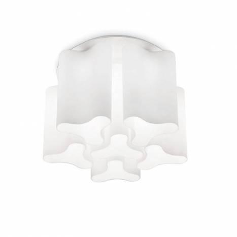 Plafón de techo Compo 6L vidrio blanco - Ideal Lux