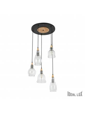 IDEAL LUX Gretel 5L blown glass pendant lamp
