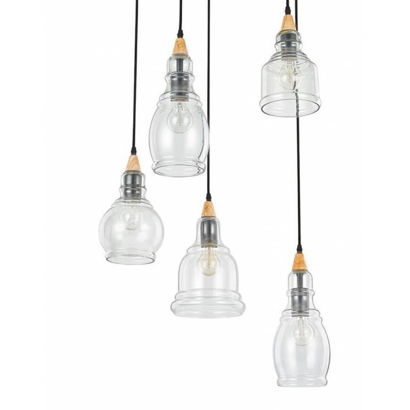 Ideal lux gretel 5l e27 blown glass wood pendant lamp ideal lux gretel 5l blown glass pendant lamp aloadofball Gallery
