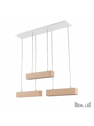 IDEAL LUX Stick 6L beige fabric hanging lamp