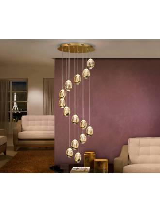Lámpara colgante Rocio LED 14L Smart Wifi oro - Schuller