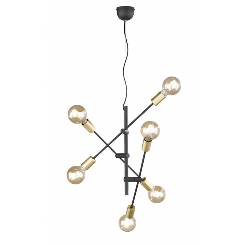 TRIO Cross 6L black + gold pendant lamp