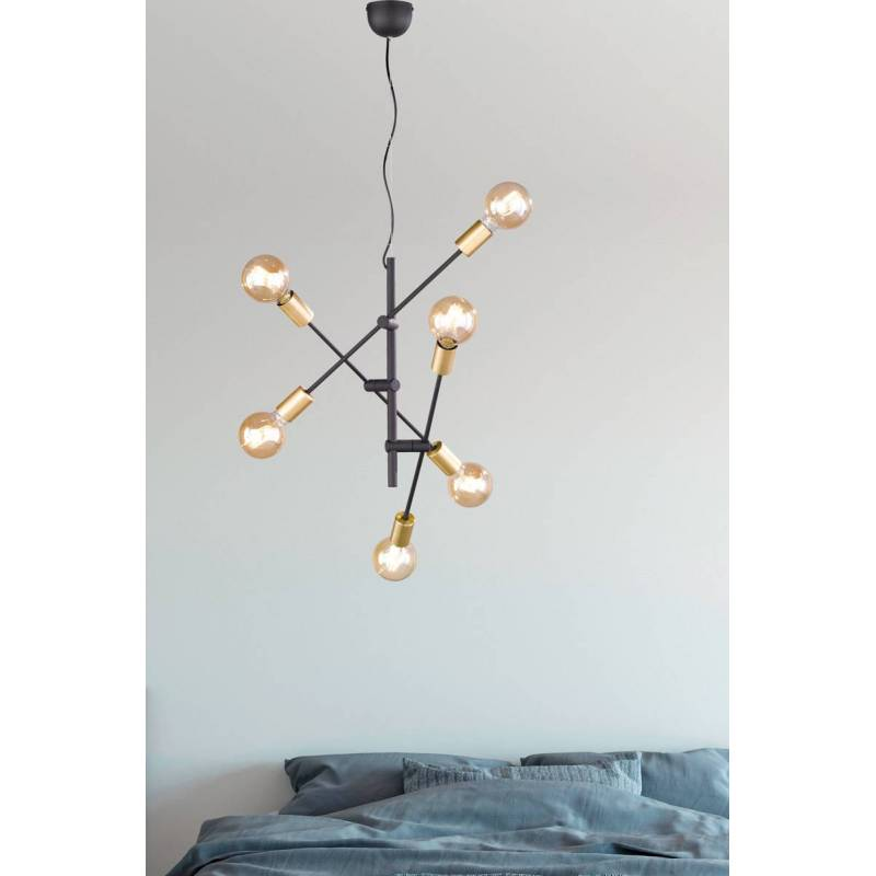 Trio Cross 6l E27 Vintage Black Gold Pendant Lamp