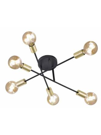 TRIO Cross 6L black + gold ceiling lamp