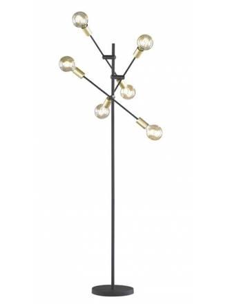 Lámpara de pie Cross 6L negro + oro - Trio