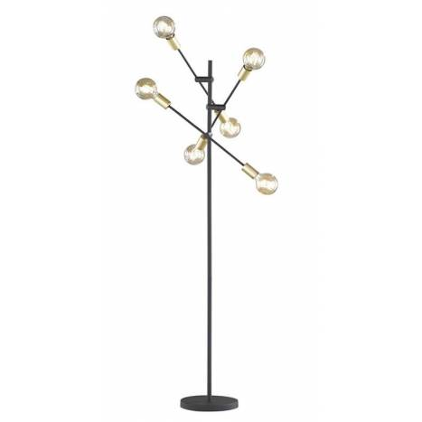 TRIO Cross 6L black + gold floor lamp
