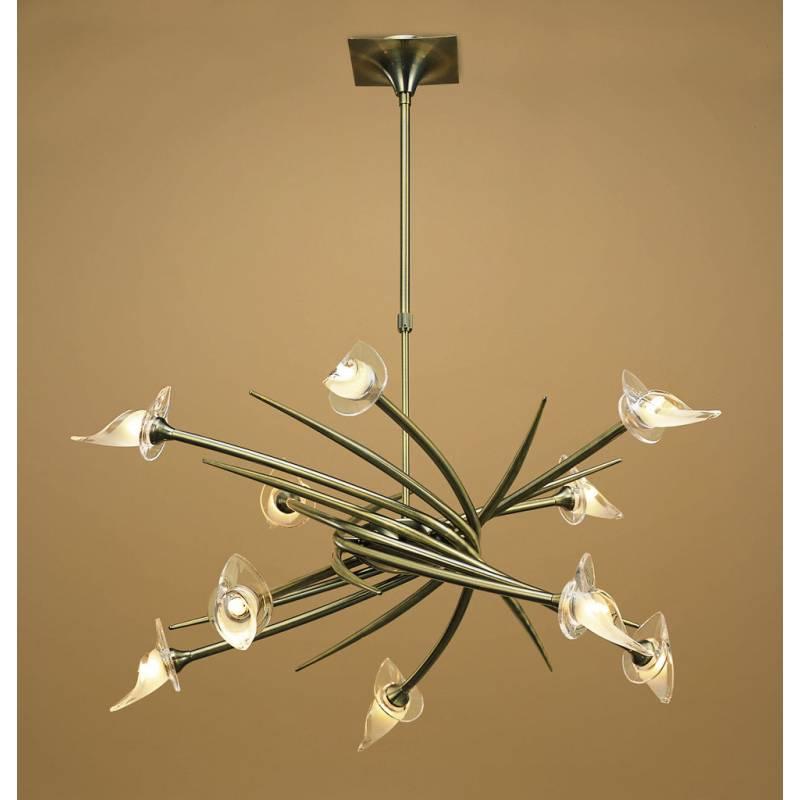 L mpara colgante flavia 10 luces cuero y cristal mantra - Lamparas salon techo ...