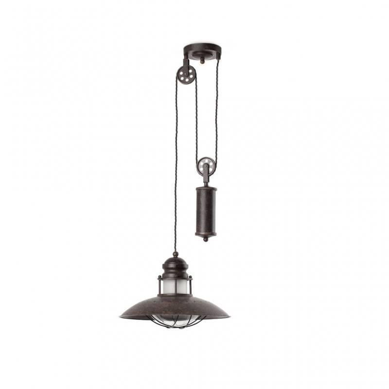 FARO Winch scale pendant lamp 1L brown steel