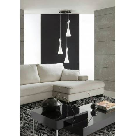 Mantra Zack pendant lamp 3L opal glass