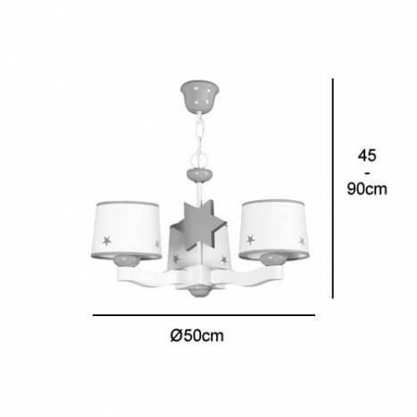 GLOBAL LUZ Star ceiling lamp 3L green lampshade