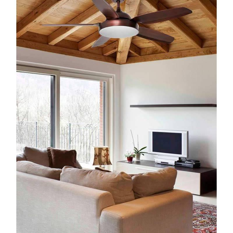 Ventilador de techo leyte dc 1l led marr n faro - Ventilador de techo cocina ...