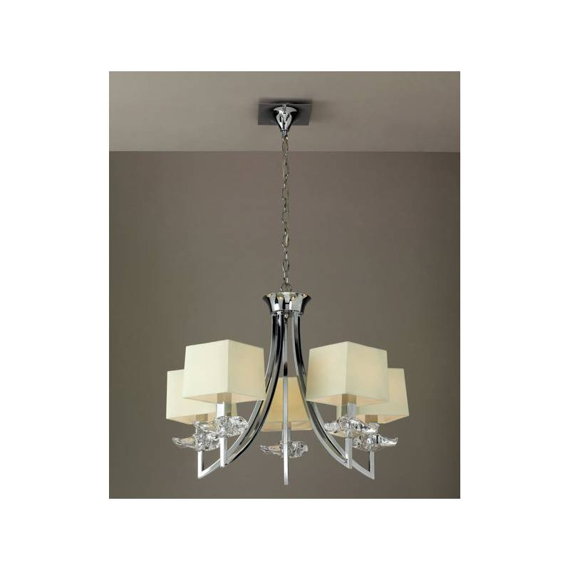 L mpara de techo akira 5 luces pantalla tela colores mantra - Lampara tela techo ...
