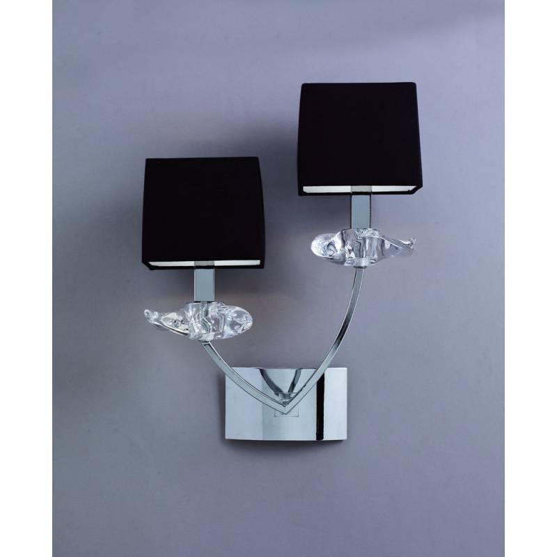 Aplique de pared akira 2 luces pantallas tela negro mantra for Apliques para escaleras de comunidad