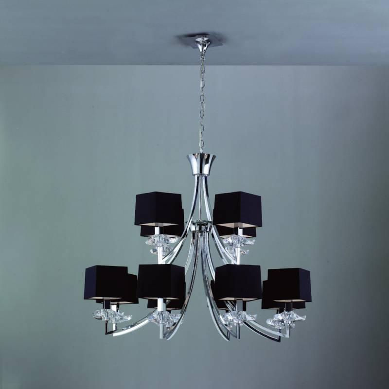 L mpara de techo akira 12 luces pantalla tela negra mantra - Pantalla lampara techo ...