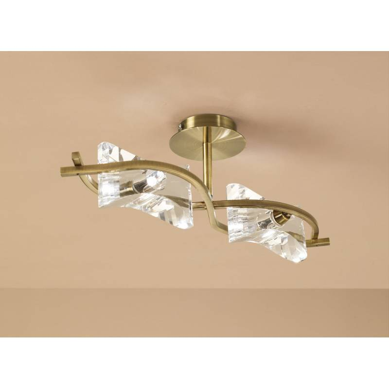 Mantra Krom ceiling lamp 2 lights antique brass