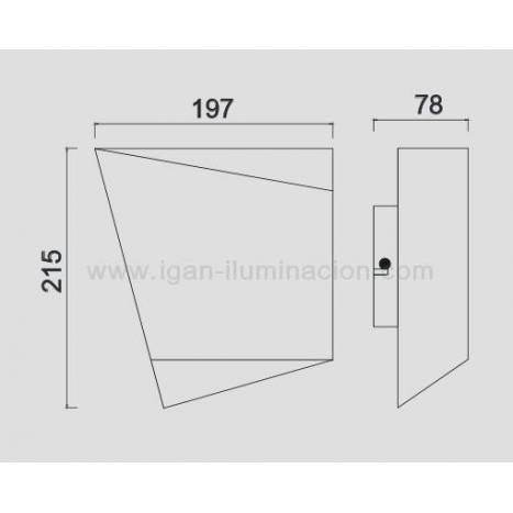 MANTRA Asimetric LED 1L black wall lamp
