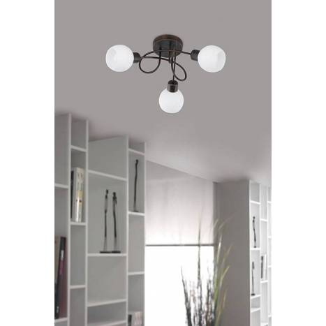 Trio Ballox ceiling lamp 3L LED oxide and glass