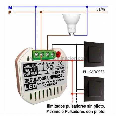 Regulador LED universal a pulsadores 250w - Varilamp