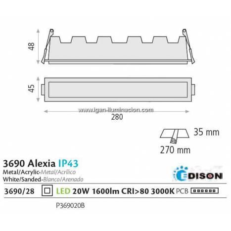 Downlight Alexia LED 20w IP43 blanco - ACB