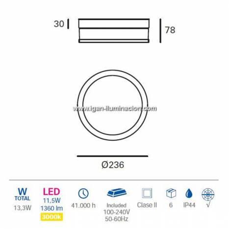 Plafón de techo Vapor LED 13w IP44 - Forlight